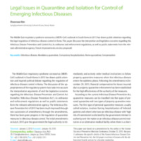 Legal Issues in Quarantine and Isolation for Control of Emerging Infectious Diseases