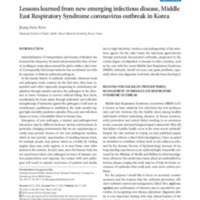 Lessons learned from new emerging infectious disease, Middle East Respiratory Syndrome coronavirus outbreak in Korea